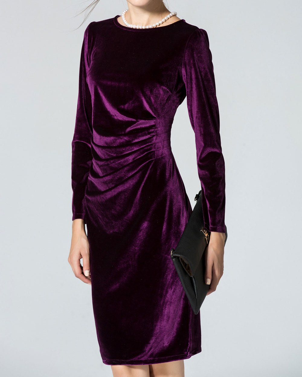 KETTYMORE WOMENS LONG SLEEVED ROUND-NECK SLIM VELVET PLEATED WINTER DRESS PURPLE - Kettymore